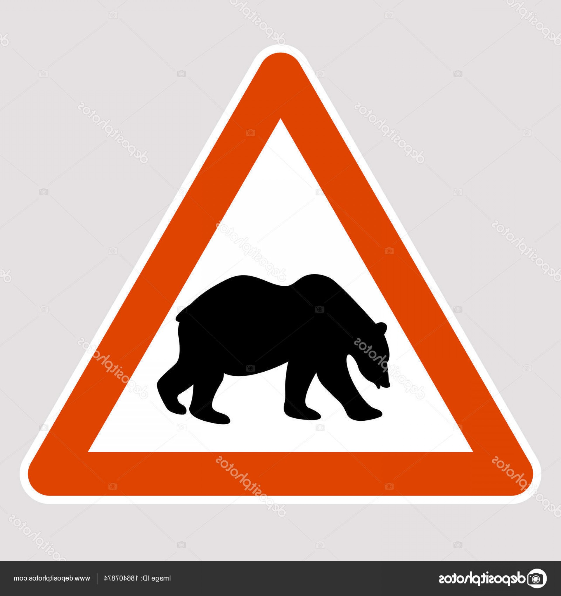 Road Sign Silhouette Vector Bear: Stock Illustration Bear Black Silhouette Road Sign