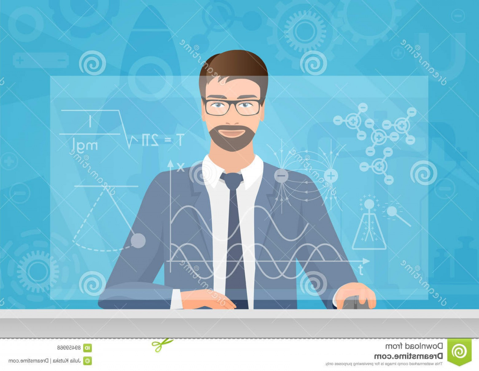 Graphing Vectors Physics: Stock Illustration Bearded Man Physicist Making Graphs Formula Computer Vector Illustration Physics Technology Image