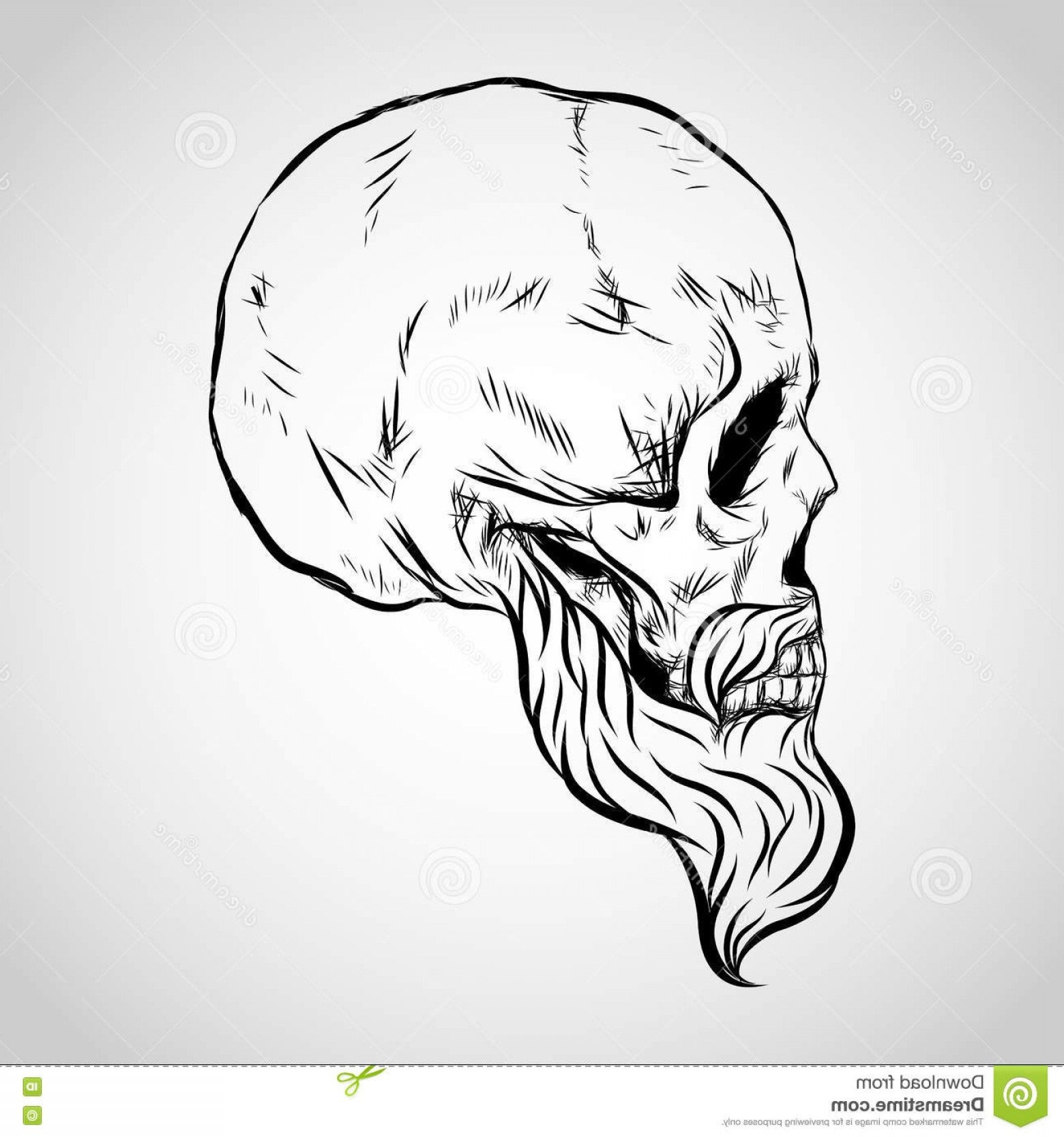 His And Hers Skulls Vector: Stock Illustration Bearded Skull Vector Icon Design Image