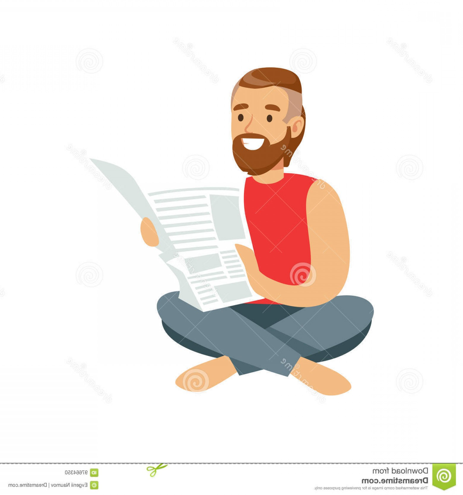 Vector Man Sitting On Floor: Stock Illustration Bearded Young Man Sitting Floor Reading Book Vector Illustration Isolated White Background Image
