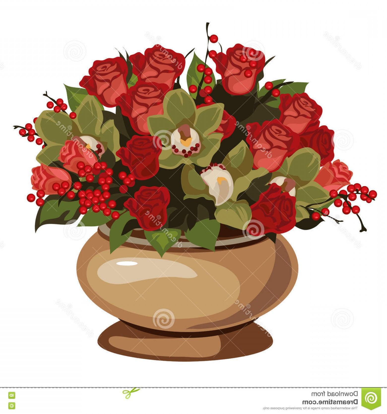 Stock Illustration Beautiful Bouquet Red Roses Decor Vase Vector ...