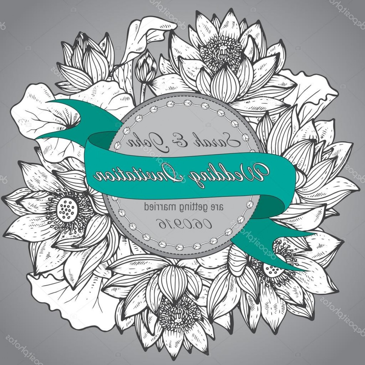 Elegant Wedding Vector Graphics: Stock Illustration Beautiful Elegant Wedding Invitation With