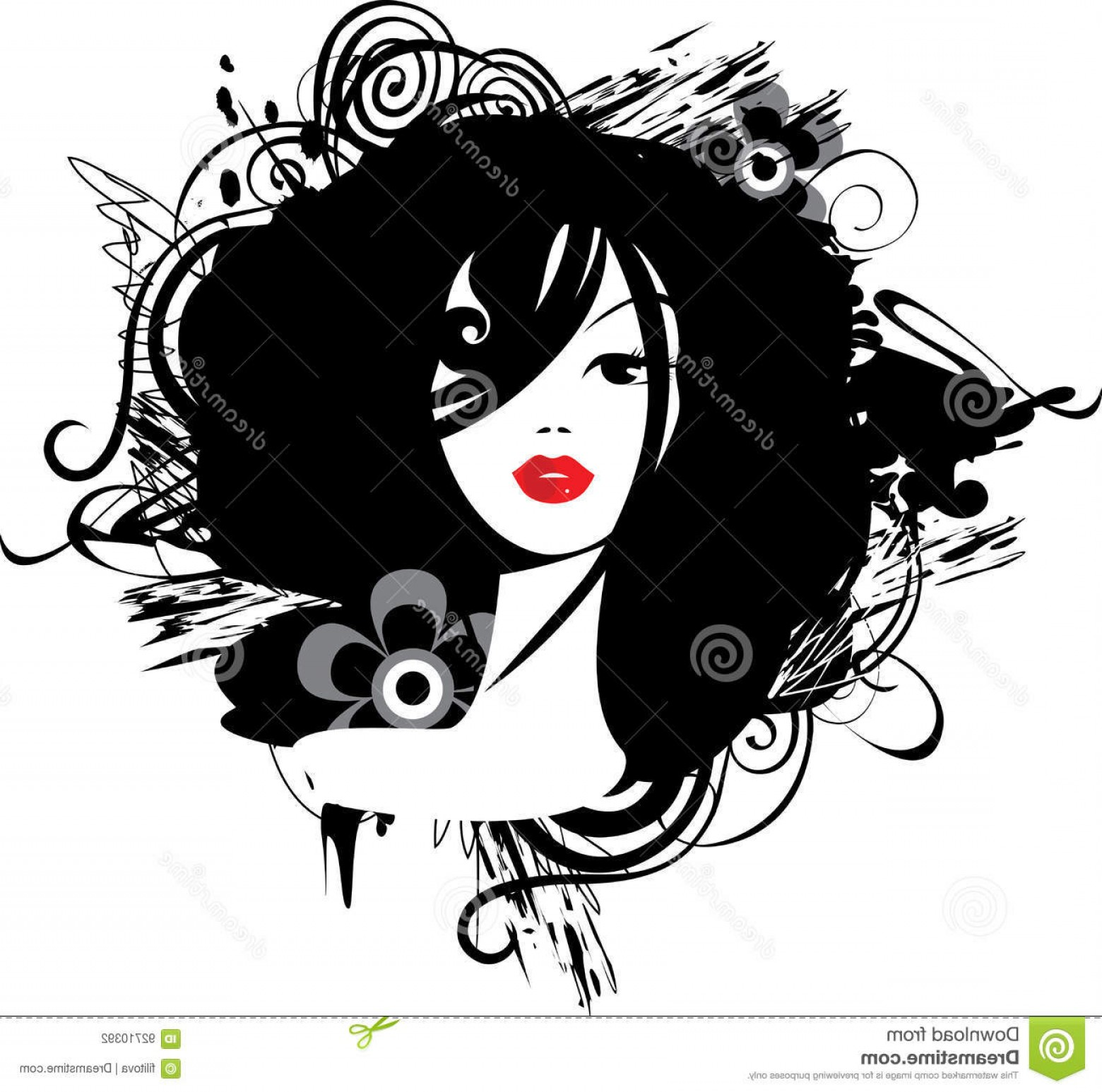 Black Beauty Vector Face: Stock Illustration Beautiful Face Girl Black White Abstract Woman Portrait Vector Illustration Image