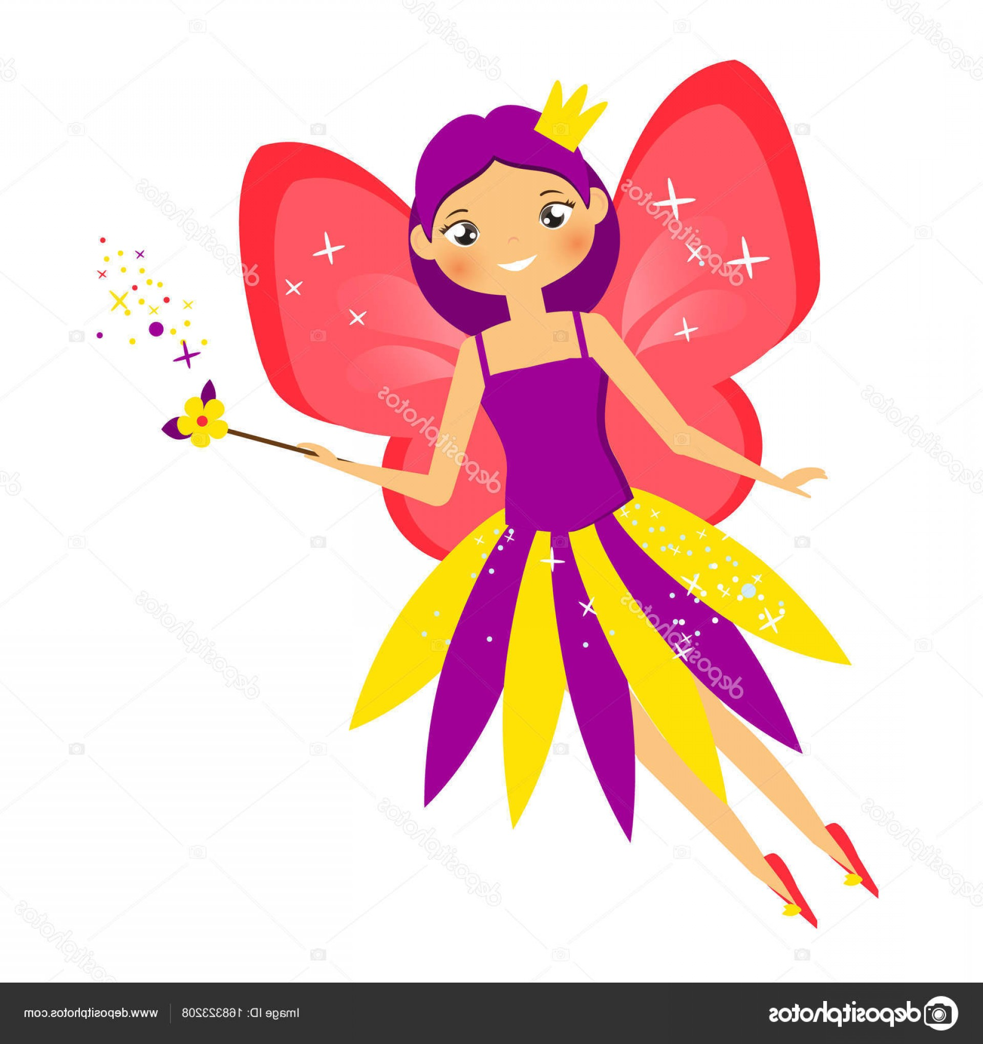 Princess Wand Vector: Stock Illustration Beautiful Flying Fairy Crown Flapping