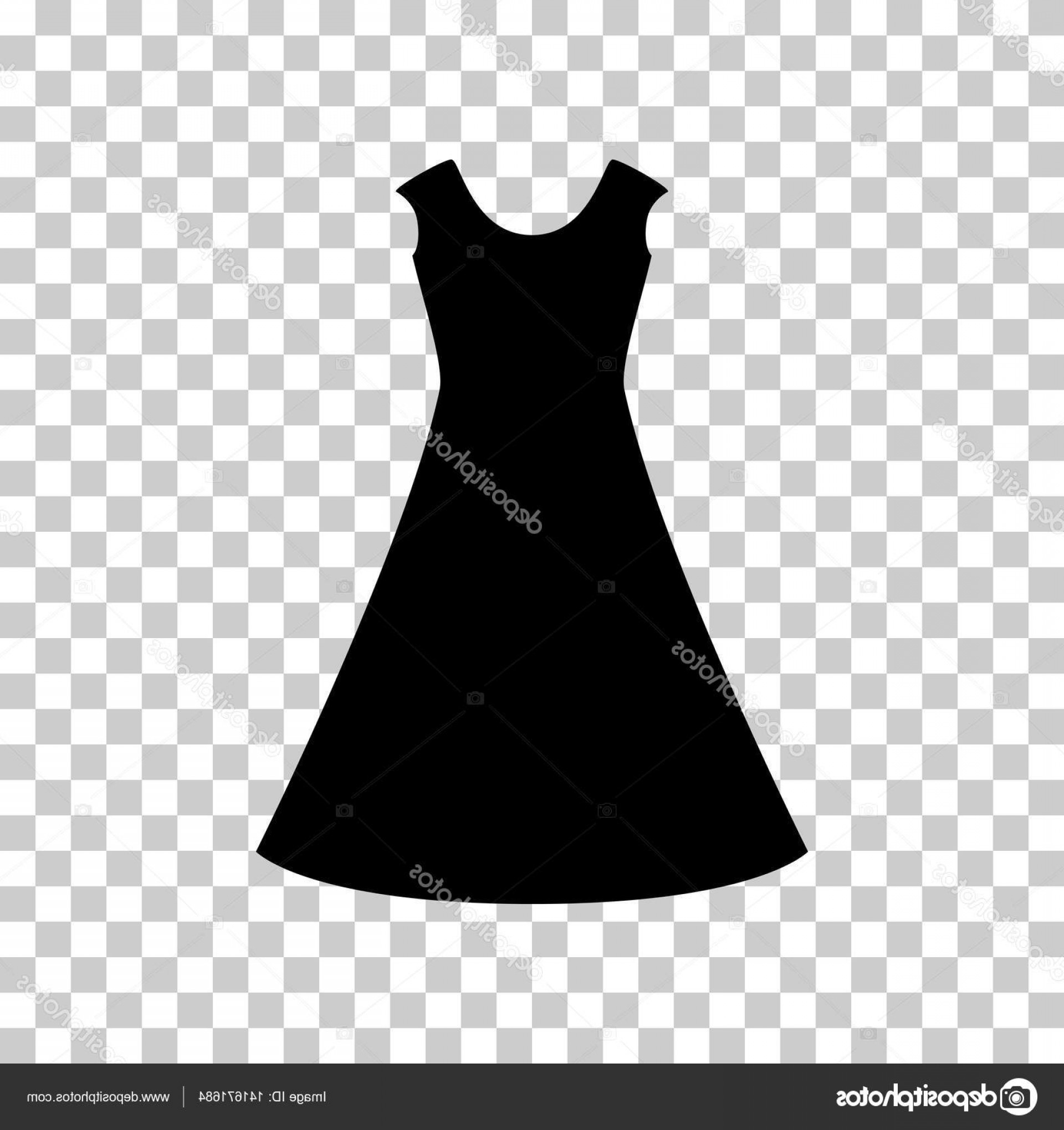 Vector Images Of Black And White Dresses: Stock Illustration Beautiful Long Dress Sign Black