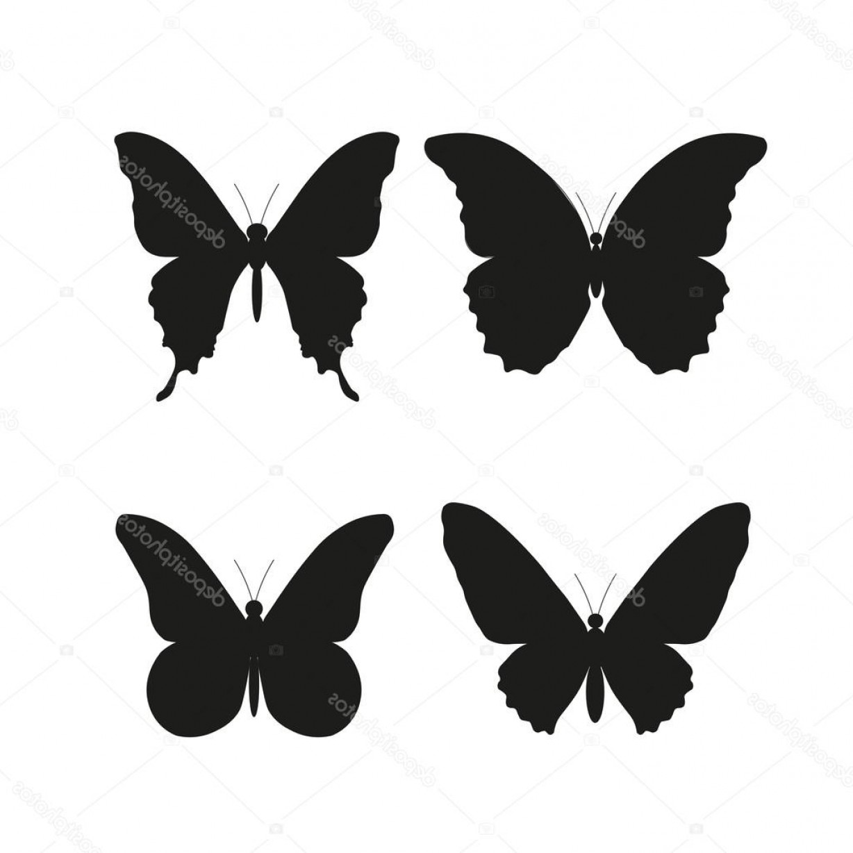 Butterly Vector: Stock Illustration Beautiful Silhouette Butterfly Vector Illustration