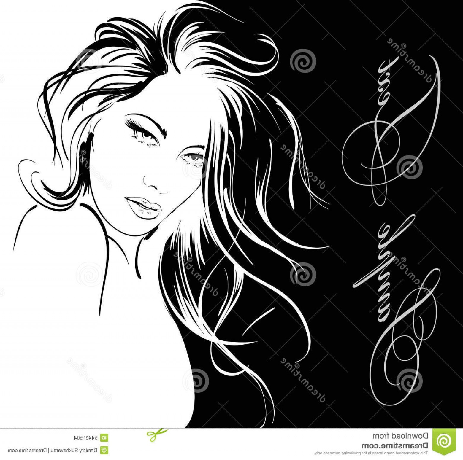 Black Beauty Vector Face: Stock Illustration Beauty Girl Face Vector Illustration Black White Background Image