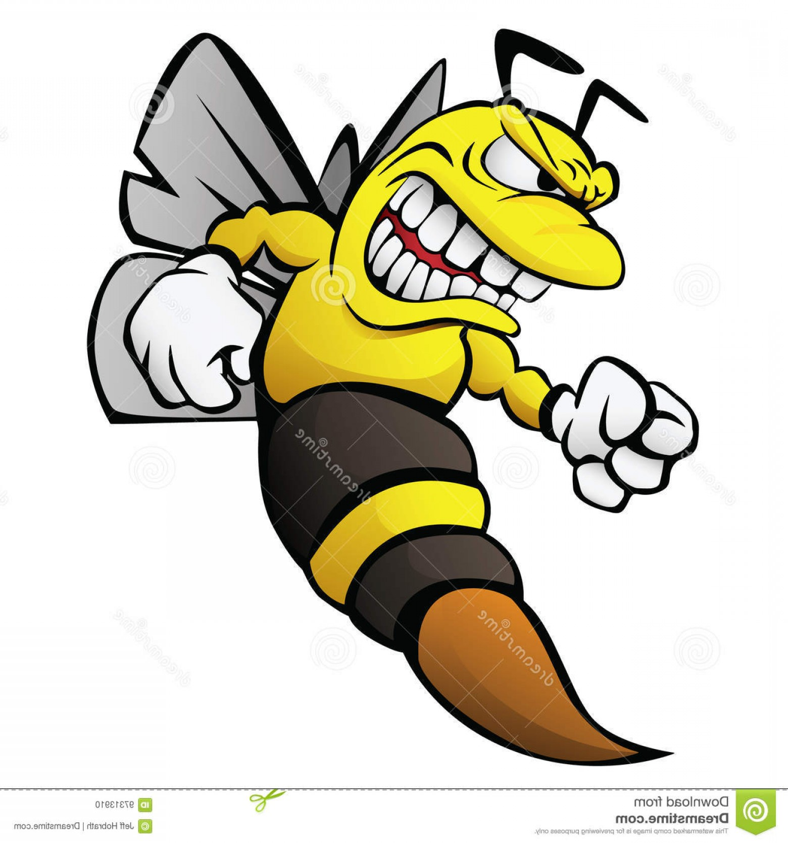 Yellow Jacket Vector Art: Stock Illustration Bee Cartoon Illustration Aggressive Funny Wasp Hornet Yellow Jacket Vector Full Color Flying Ready To Strike Image