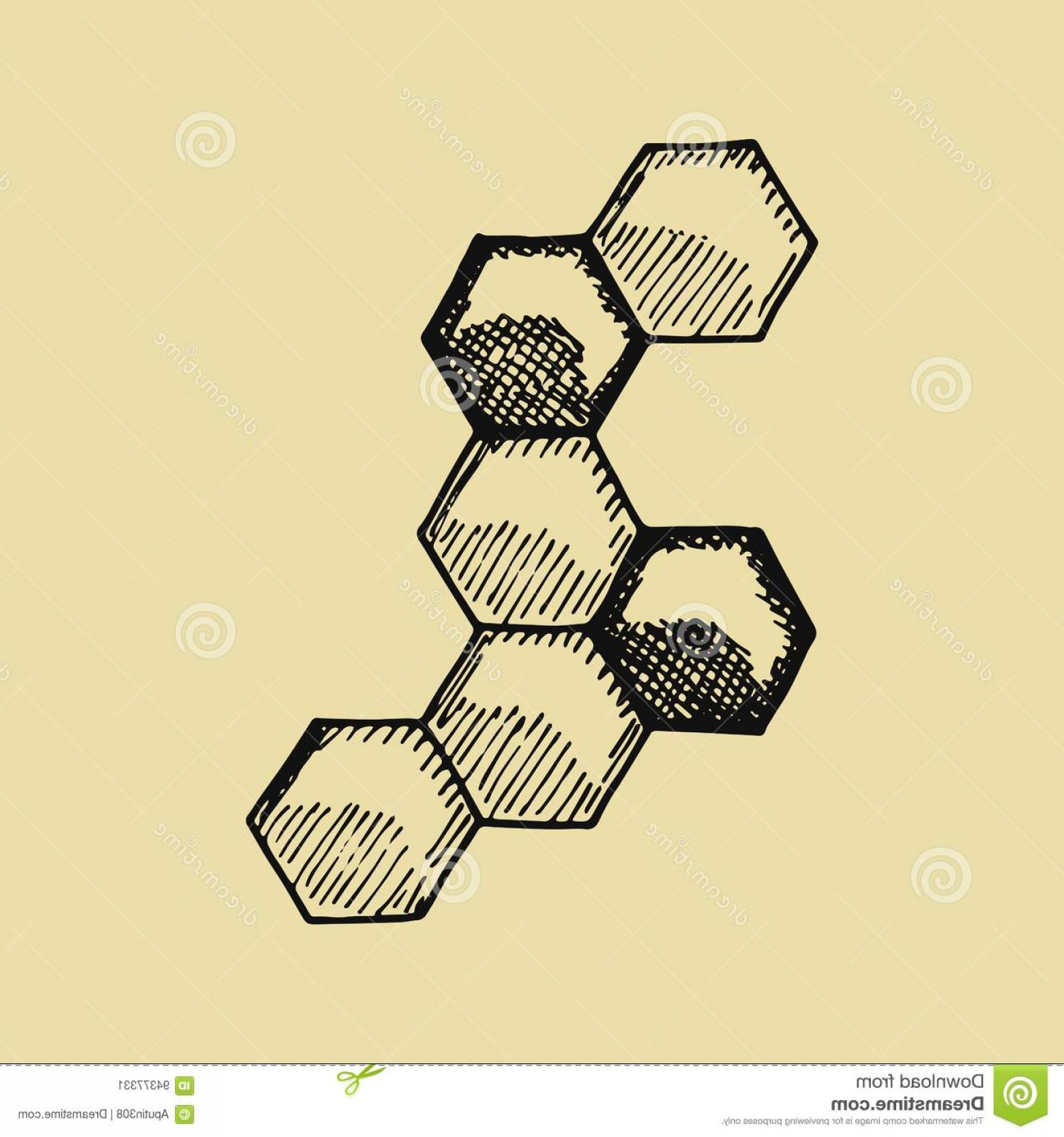 Bee Drawing Vector: Stock Illustration Bee Honeycomb Hand Drawing Vector Illustration Icon Image