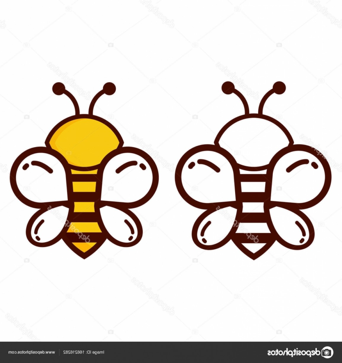 Bee Outline Vector: Stock Illustration Bee Outline Vector Set