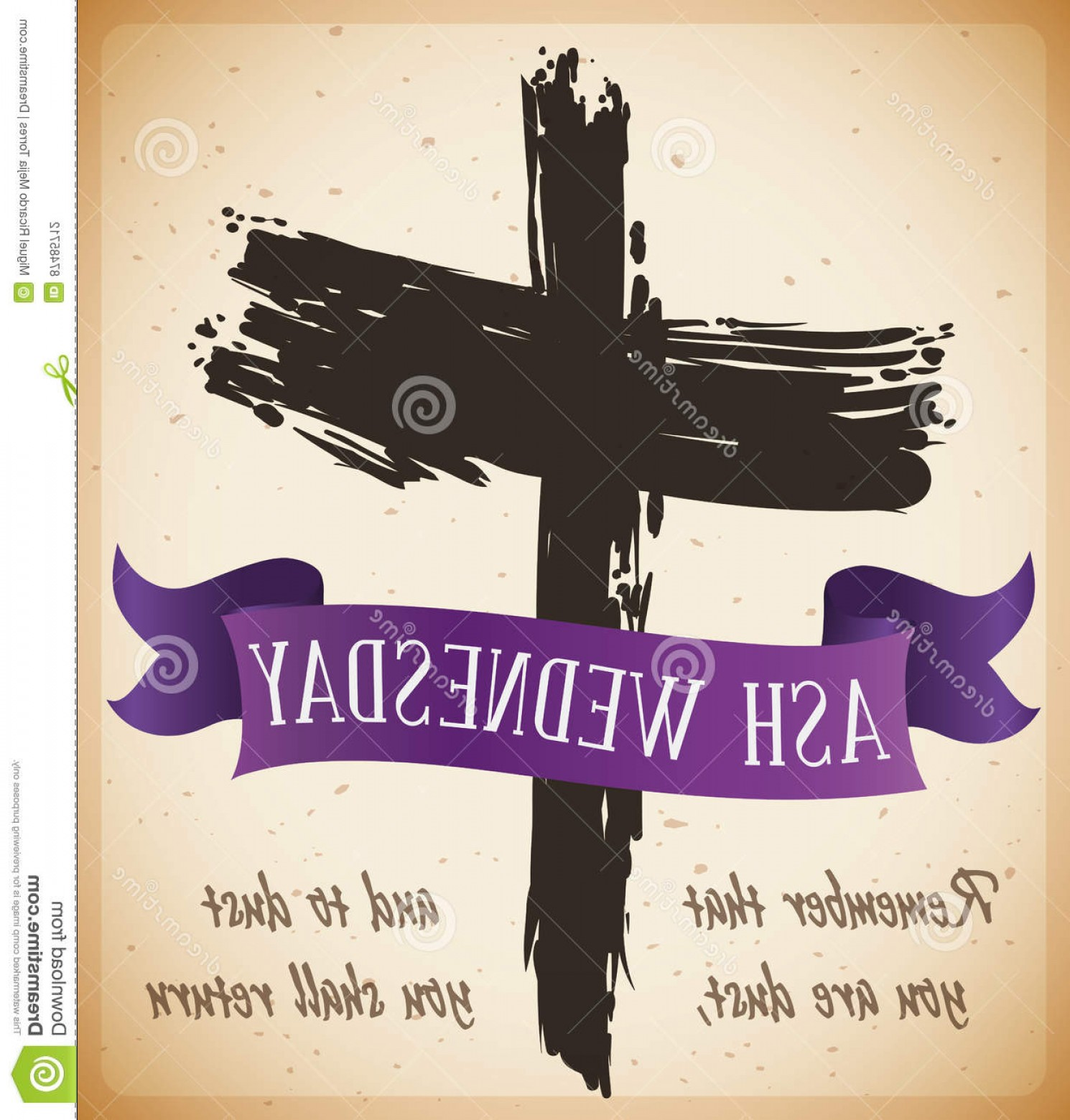 Cross And Ribbon Vector: Stock Illustration Beginning Lent Ash Wednesday Cross Ribbon Vector Illustration Poster Traditional Drawing Purple Biblical Words Image