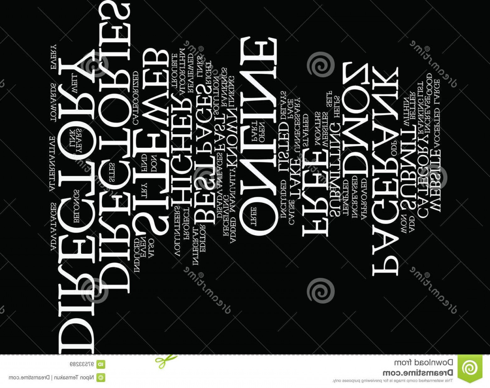 Vector Editors Disadvantages: Stock Illustration Best Online Directories Word Cloud Concept Text Background Image