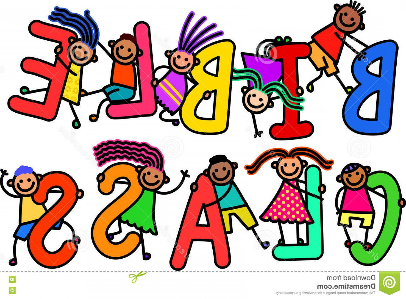 Bible Class Background Vector: Stock Illustration Bible Class Kids Group Happy Stick Children Climbing Over Letters Alphabet Spell Out Words Image