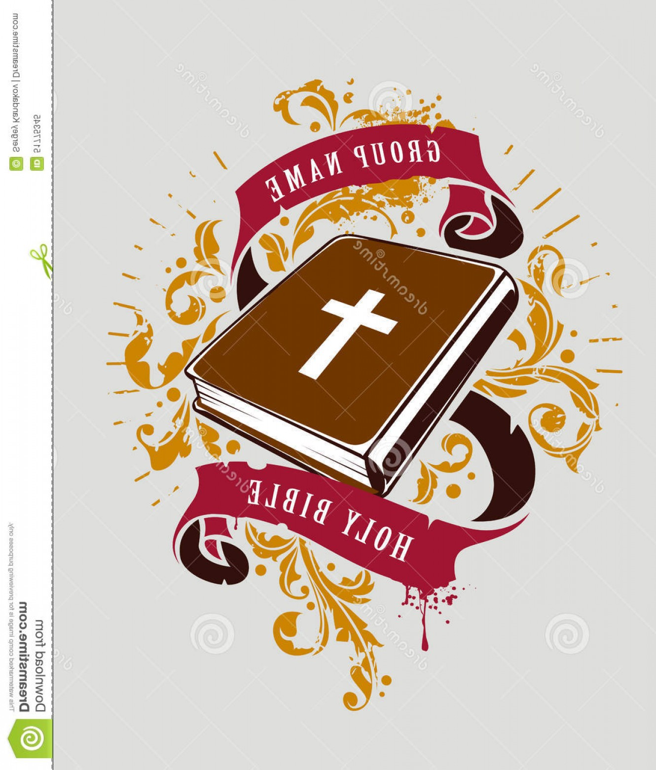 Holy Bible Vector: Stock Illustration Bible Vector Grunge Illustration Holy Ribbons Florals Print Image