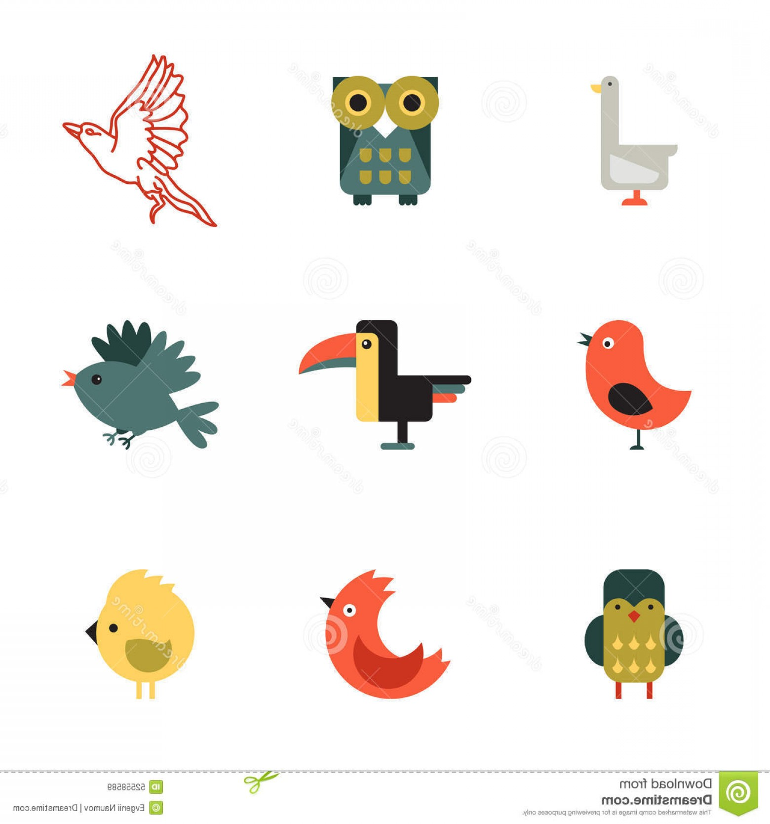 Vector Styles: Stock Illustration Birds Different Styles Vector Illustration Set Concept Image