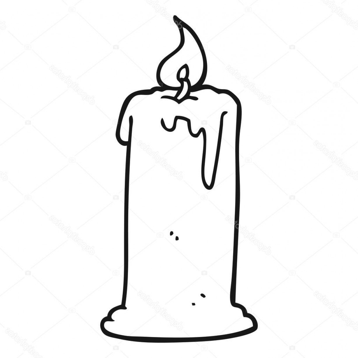 Candle Vector Black: Stock Illustration Black And White Cartoon Burning