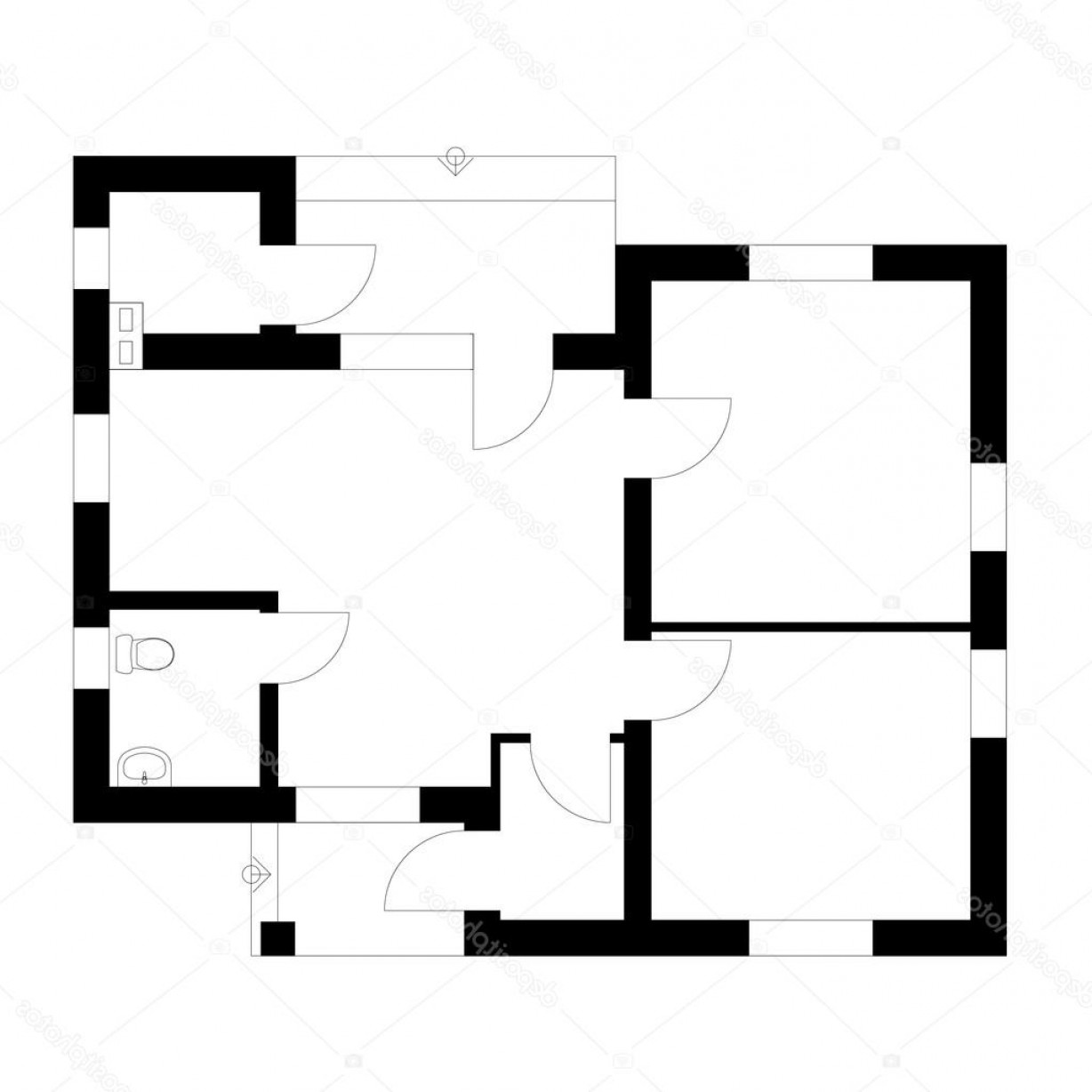 Residential Blueprint Vector Black: Stock Illustration Black And White Floor Plan