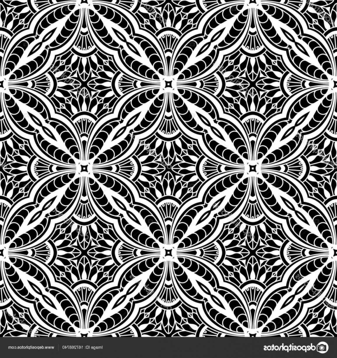 Tulle Black Lace Pattern Vector: Stock Illustration Black And White Lace Pattern
