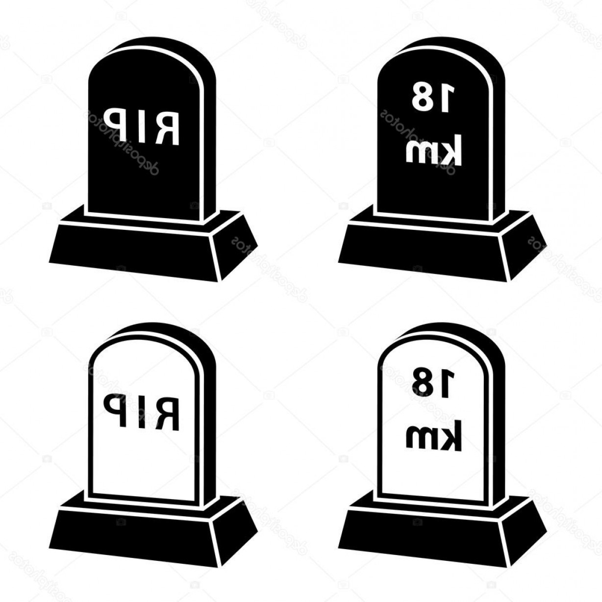 Gravestone Black And Whit Vector JPEG: Stock Illustration Black And White Milestone Tombstones