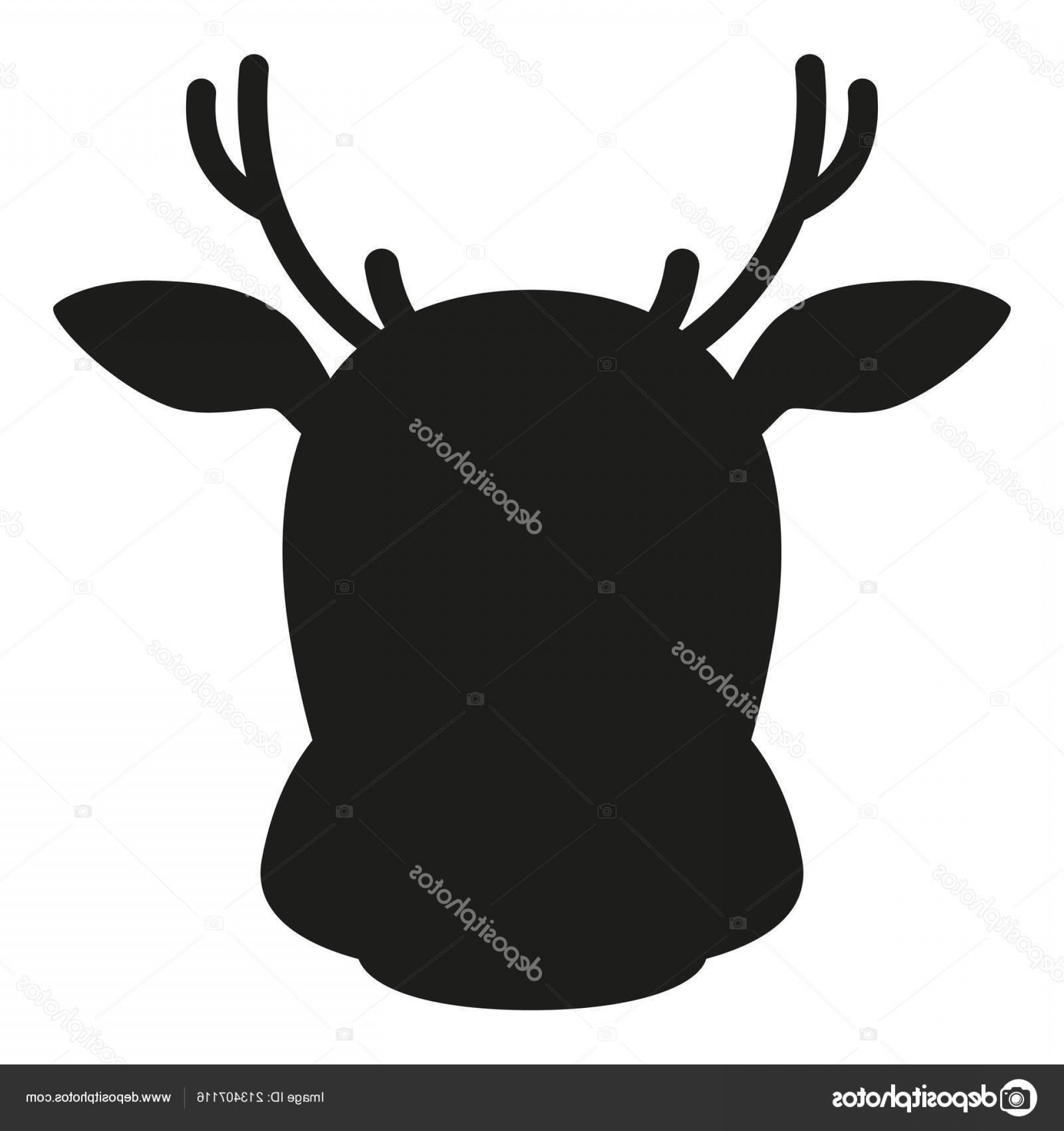 Black And White Holiday Deer Vector: Stock Illustration Black And White Reindeer Head