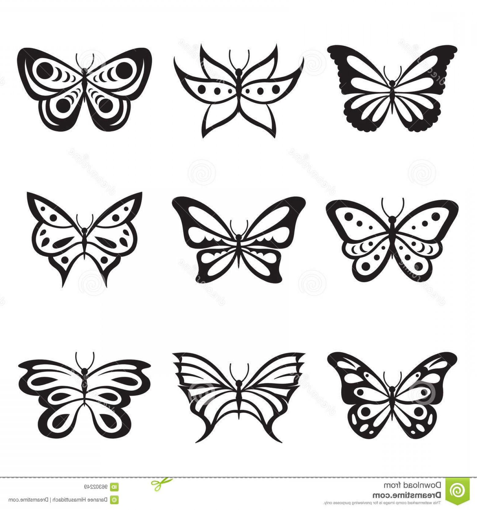 Mariposa Vector: Stock Illustration Black Animal Insect Butterfly Tattoo Silhouettes Icon Vector Design Image