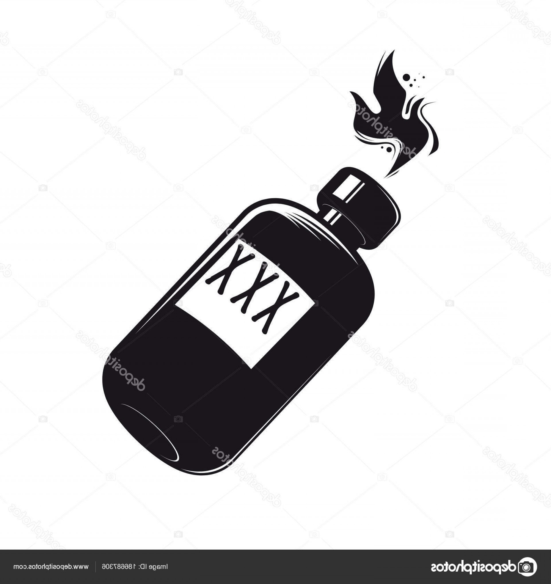 Booze Bottle Vector: Stock Illustration Black Bottle Booze Clipart