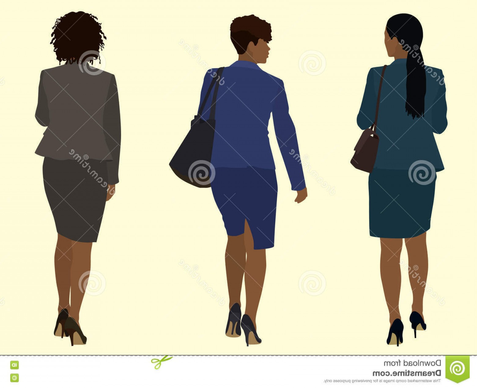 Walking Away Vector: Stock Illustration Black Business Women Walking Away African American Wearing Suits Carrying Purses Image