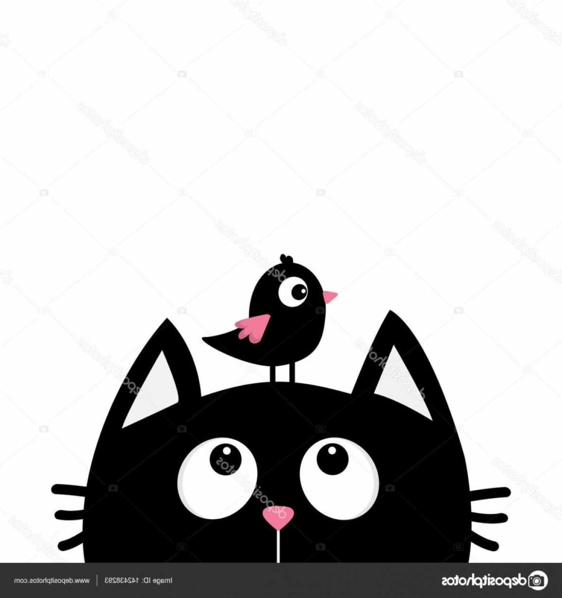 Malee Cat Head Silhouette Vector: Stock Illustration Black Cat Head Silhouette