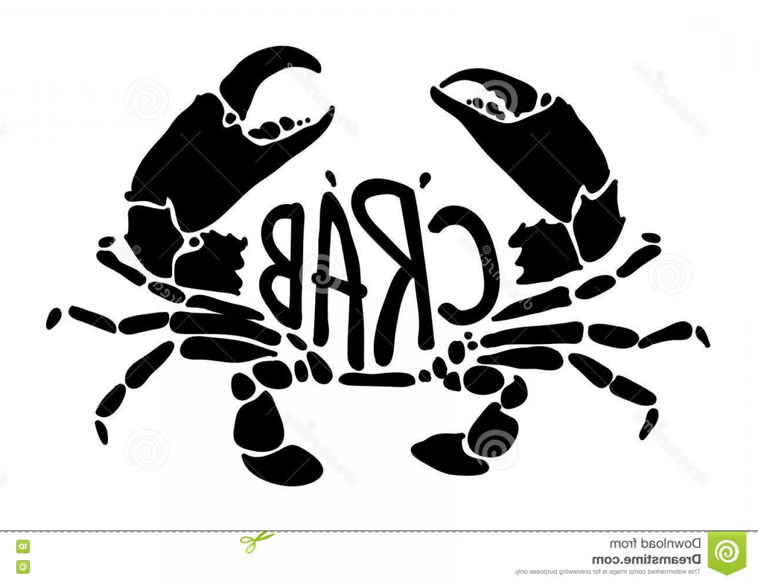 Crab Vector Black: Stock Illustration Black Crab Vector Clip Art White Background Eps Image