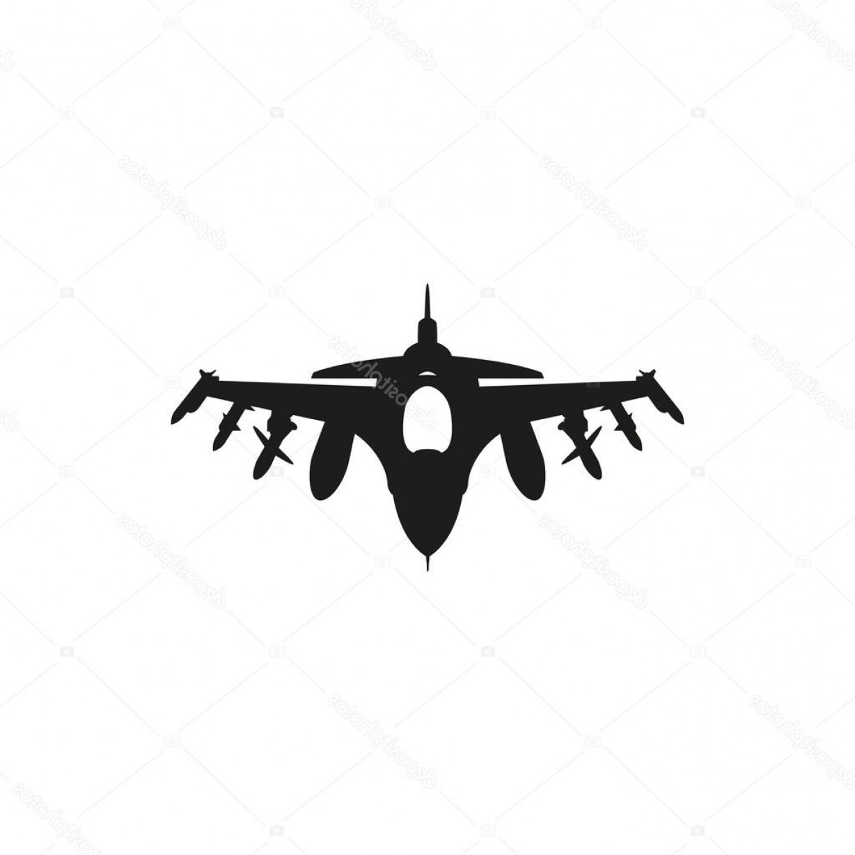 Vector Jet Fighter: Stock Illustration Black Fighter Jet Icon On