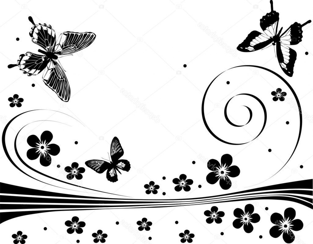 Butter Fly And Flower Vector Black And White: Stock Illustration Black Flower And Butterfly Design