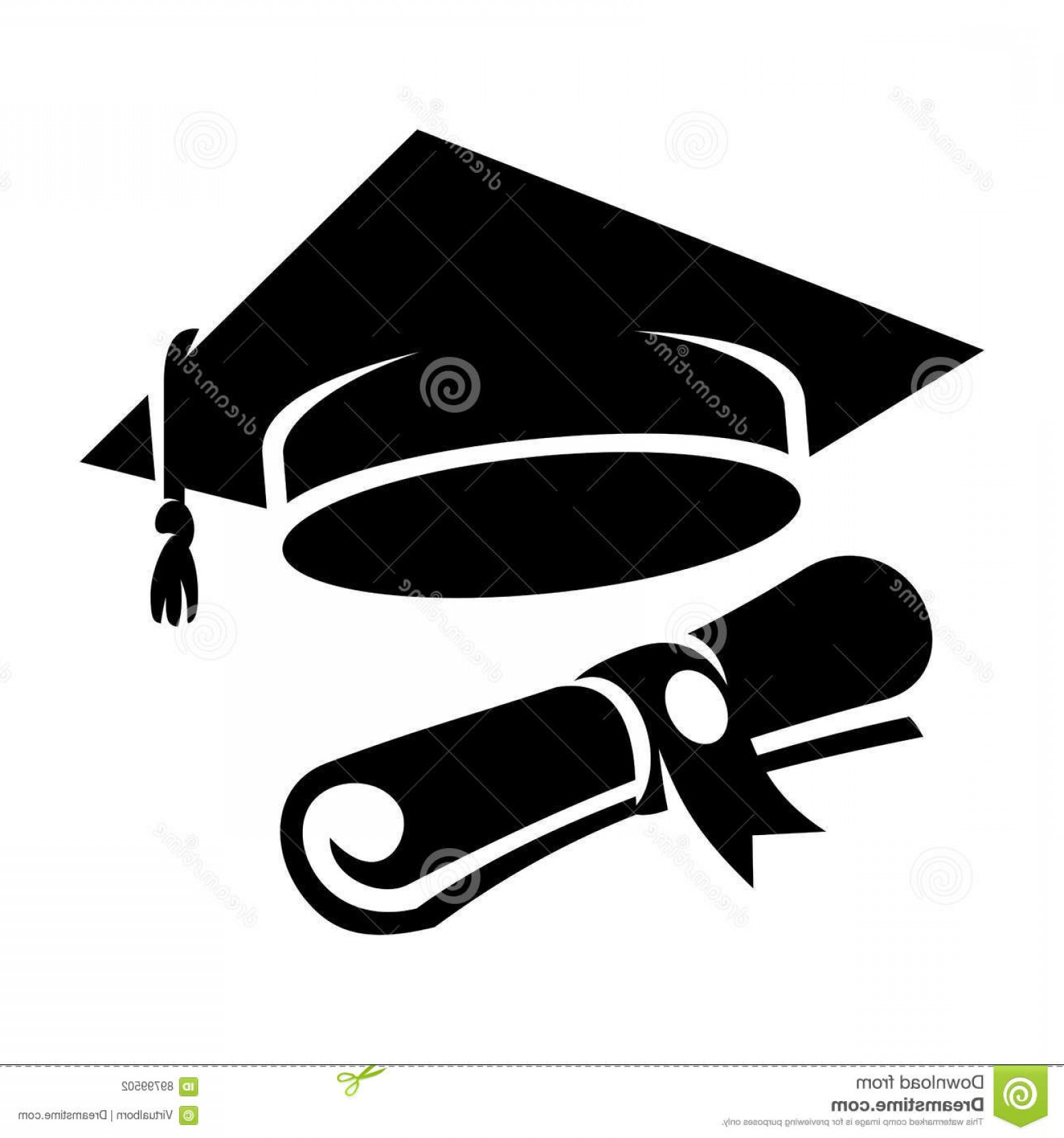 Diploma Icon Vector: Stock Illustration Black Graduation Cap Diploma Icon Web Student Hat Vector Illustration Image