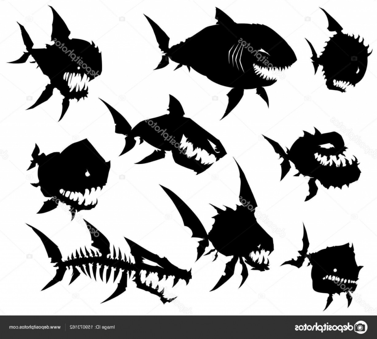 Fish Vector Graphic: Stock Illustration Black Graphic Silhouette Cool Monster