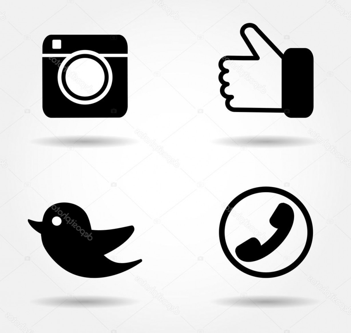 Share Logo Vector: Stock Illustration Black Icon Set Social Media