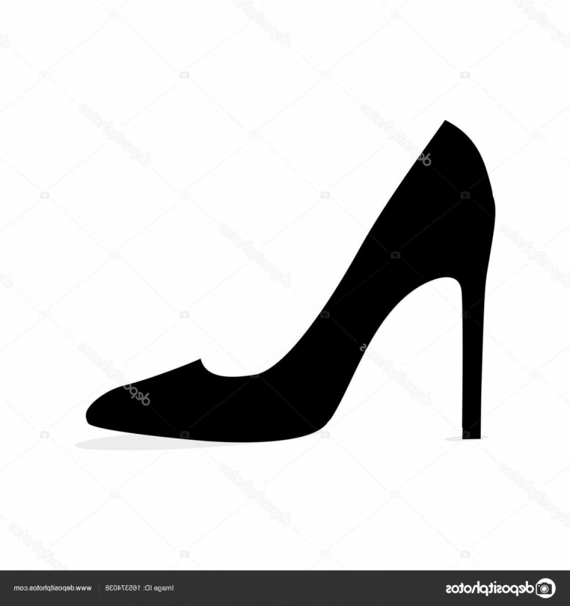 Silhouette Hee High Vector Lsitleetios: Stock Illustration Black Modern Stilleto Shoe Isolated