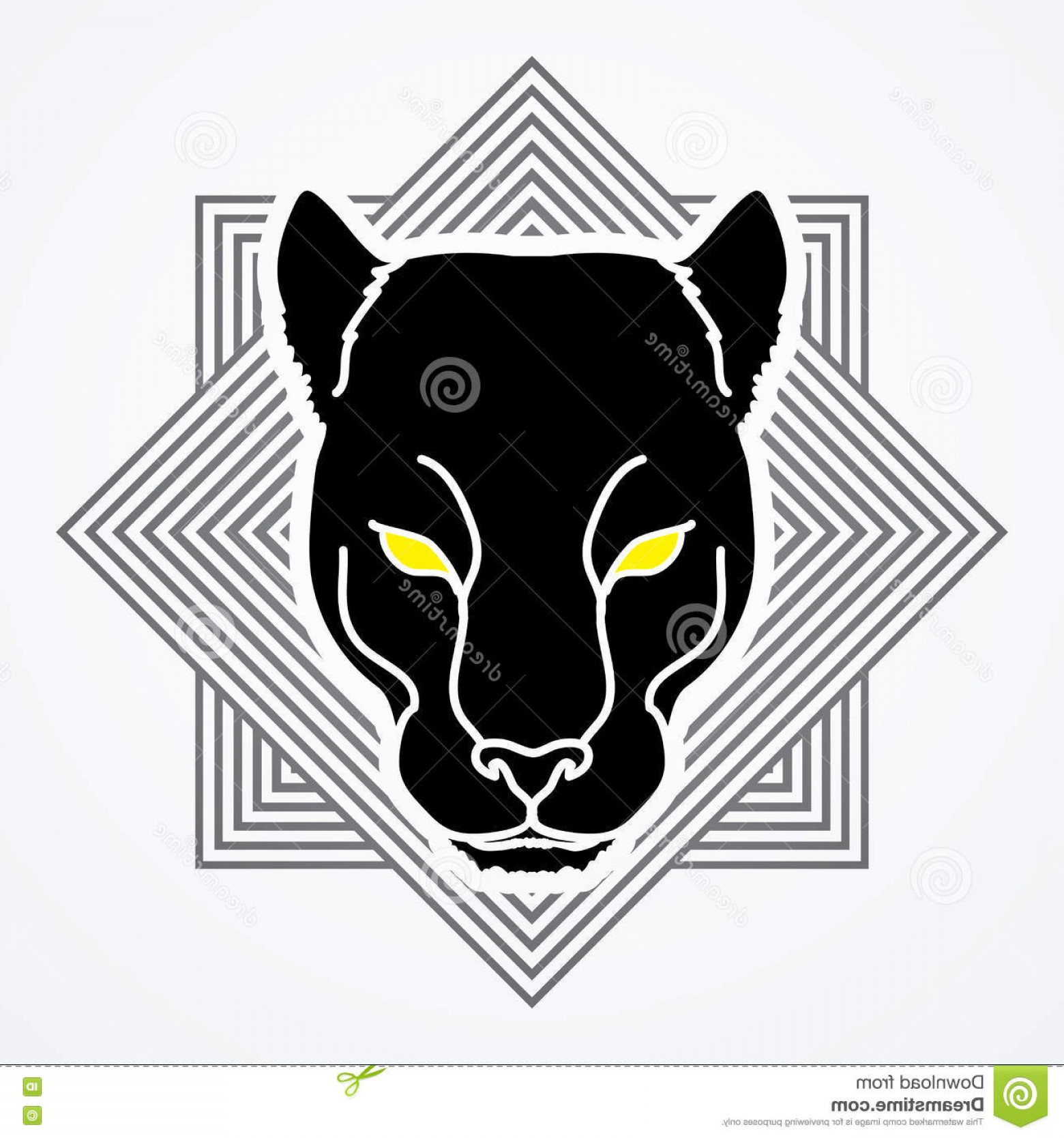 Vector Panther Football: Stock Illustration Black Panther Head Designed Line Square Background Graphic Vector Image