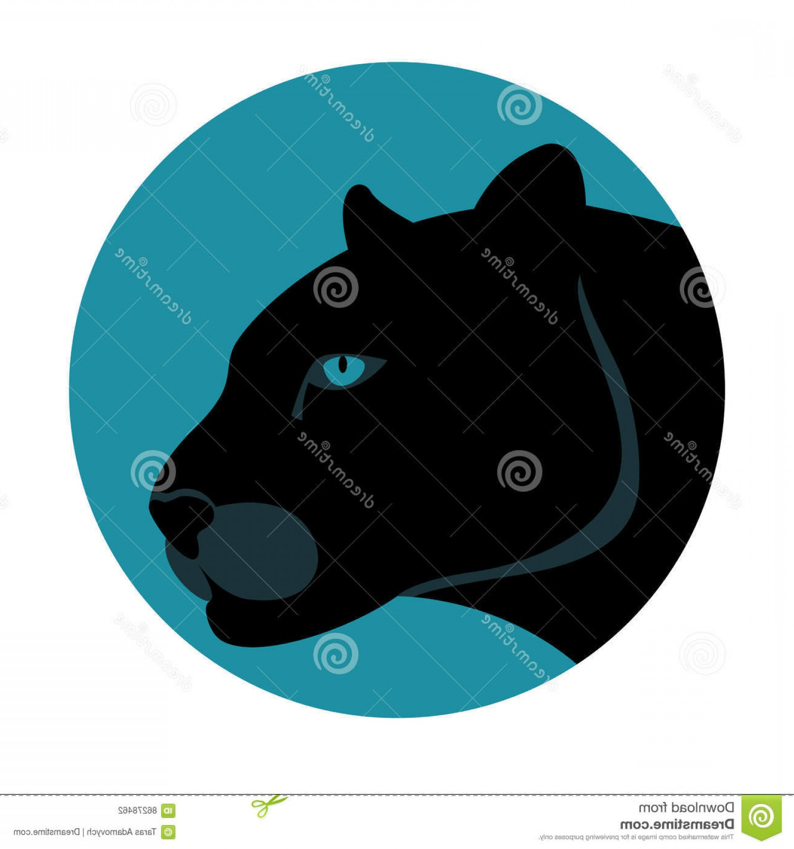 Panther Vector: Stock Illustration Black Panther Vector Illustration Style Flat Side Image