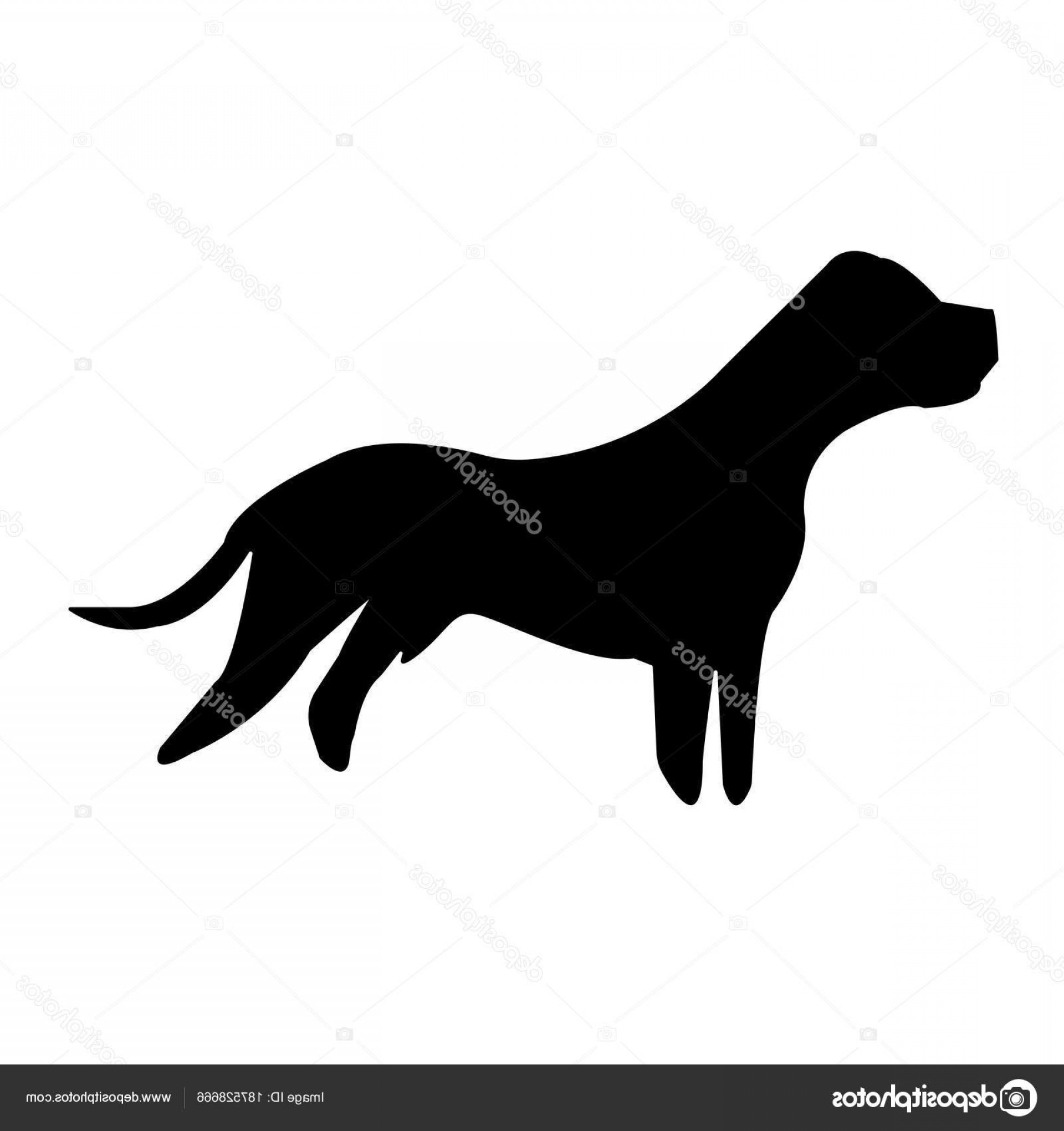 Pit Silhouette Vector: Stock Illustration Black Pit Bull Silhouette White