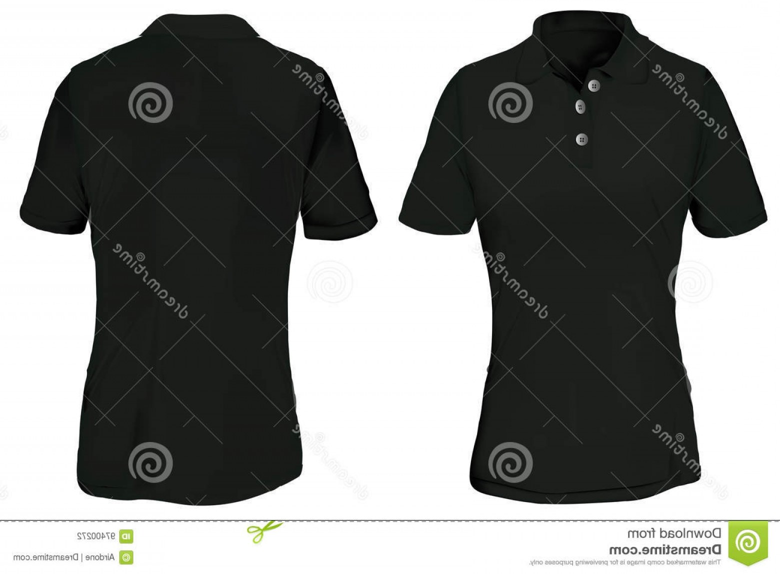 Female Polo Shirt Vector Template: Stock Illustration Black Polo Shirt Template Woman Vector Illustration Blank T Front Back Design Isolated White Image