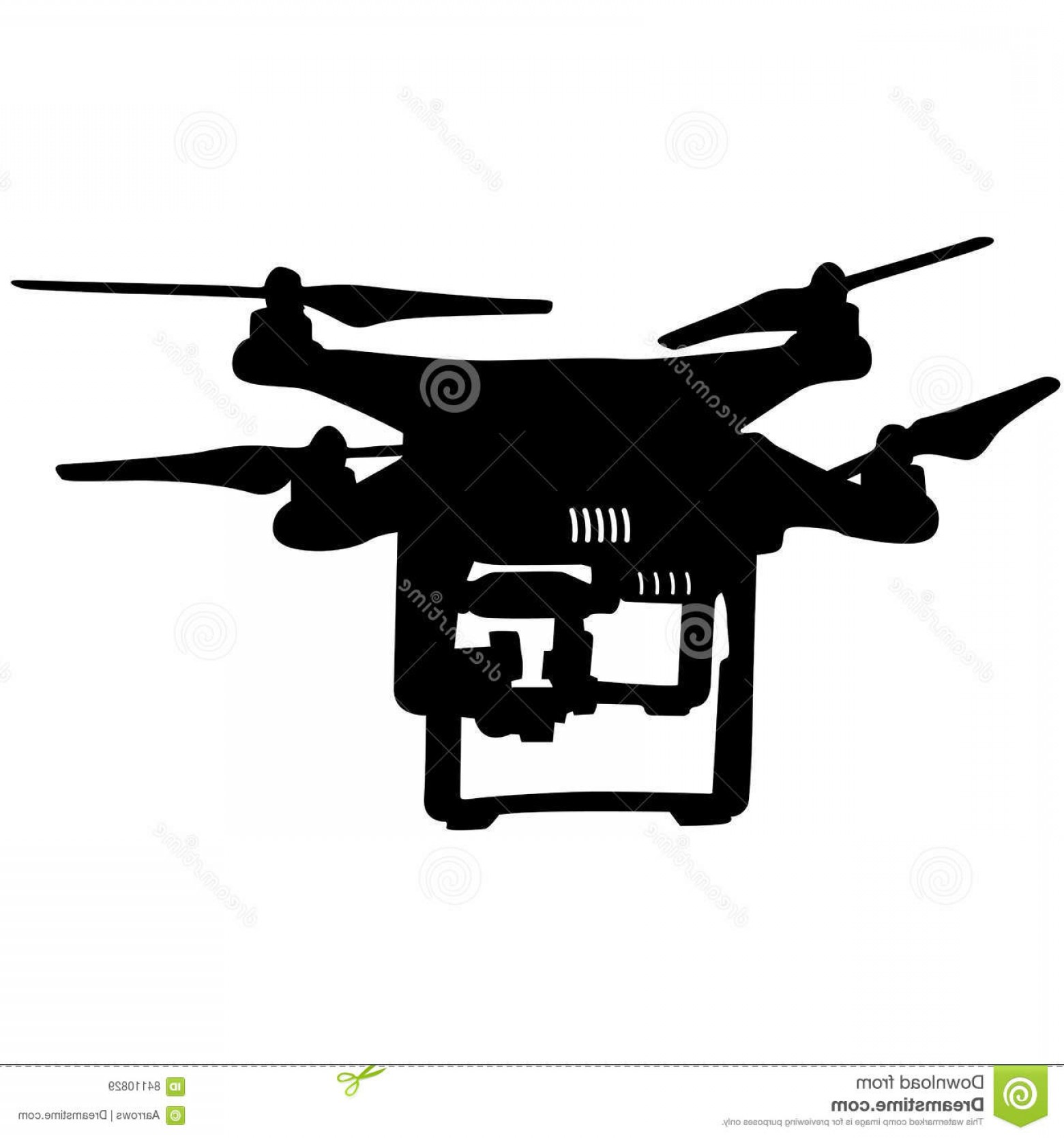 Vector Eclipse Fly Machine: Stock Illustration Black Silhouette Drone Quadrocopter Vector Illustration Image