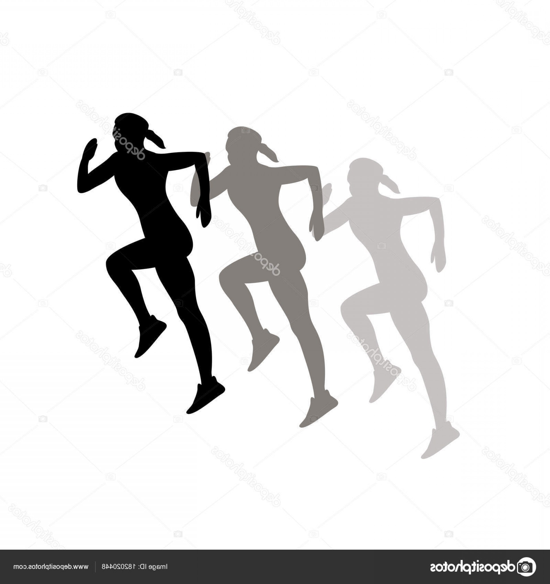 Vector Silhouette Of Girl Running Track: Stock Illustration Black Silhouette Of Running Girl