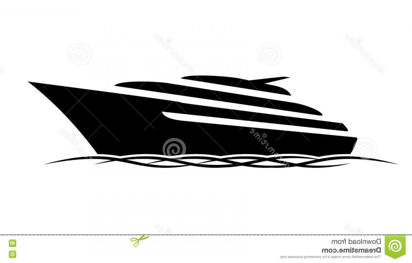 Waves With Cruise Ship Silhouette Vector: Stock Illustration Black Silhouette Sports Expensive Motor Deck Yacht Floating Waves Sea Ocean Lot Vector Icon Image