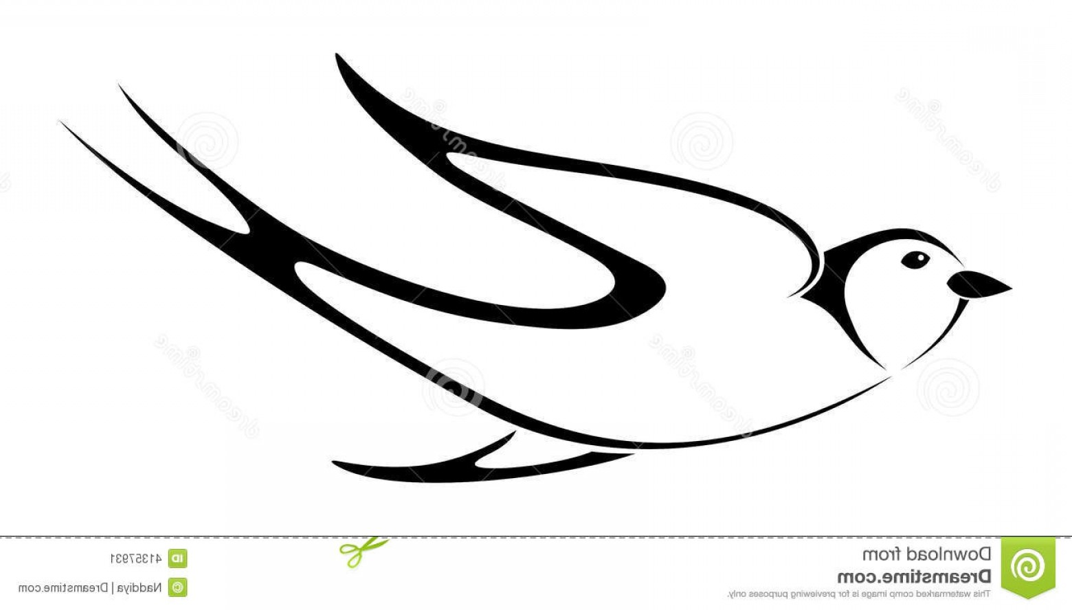 Swallow Vector: Stock Illustration Black Silhouette Swallow Vector Illustration Flying White Background Image