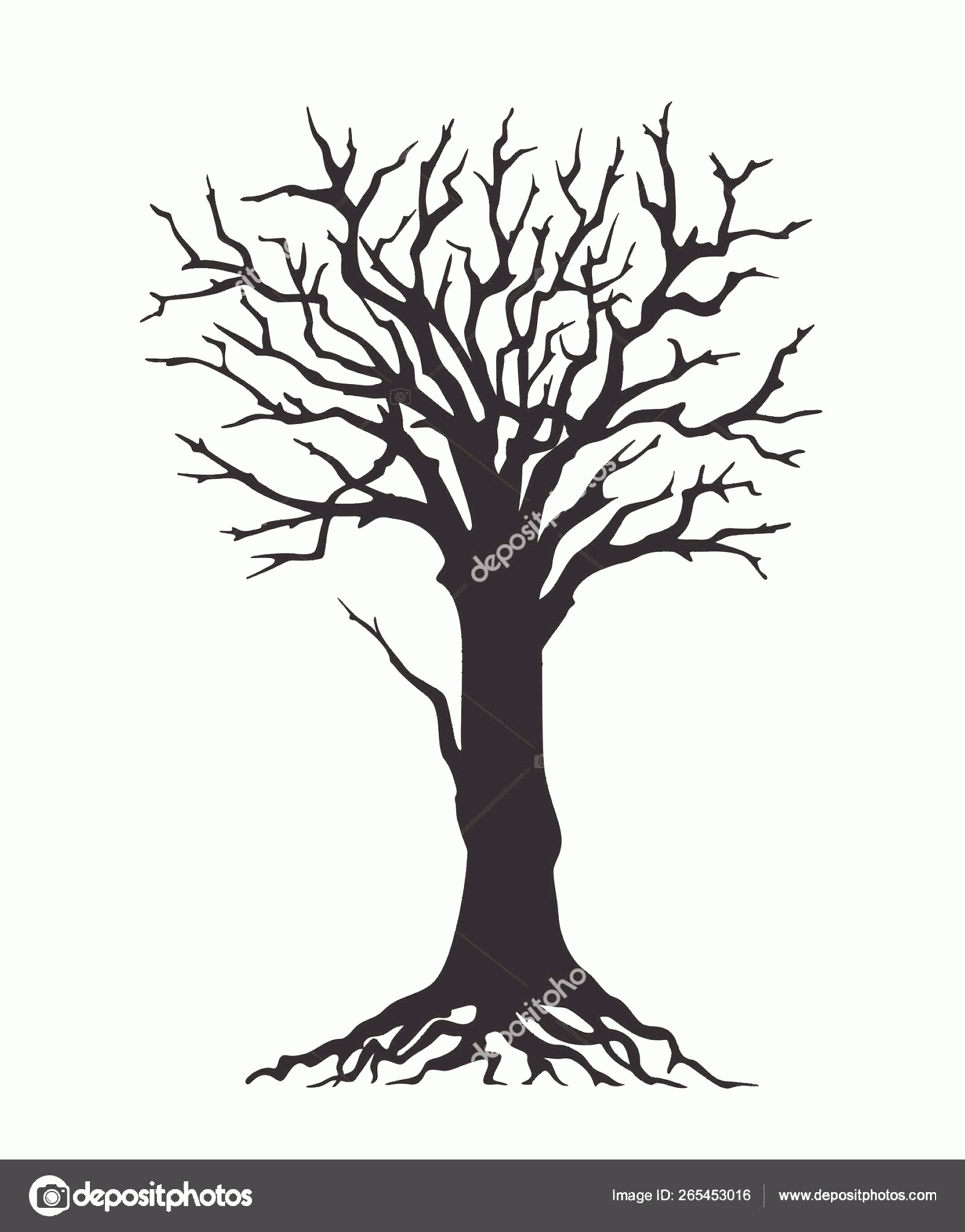 Vector Tree With Roots Drawing: Stock Illustration Black Silhouette Tree With Roots