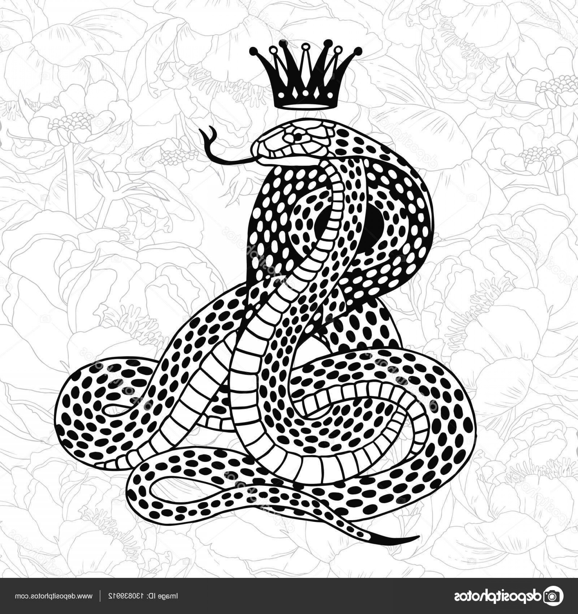 Snake Crown Vector: Stock Illustration Black Snake With Crown