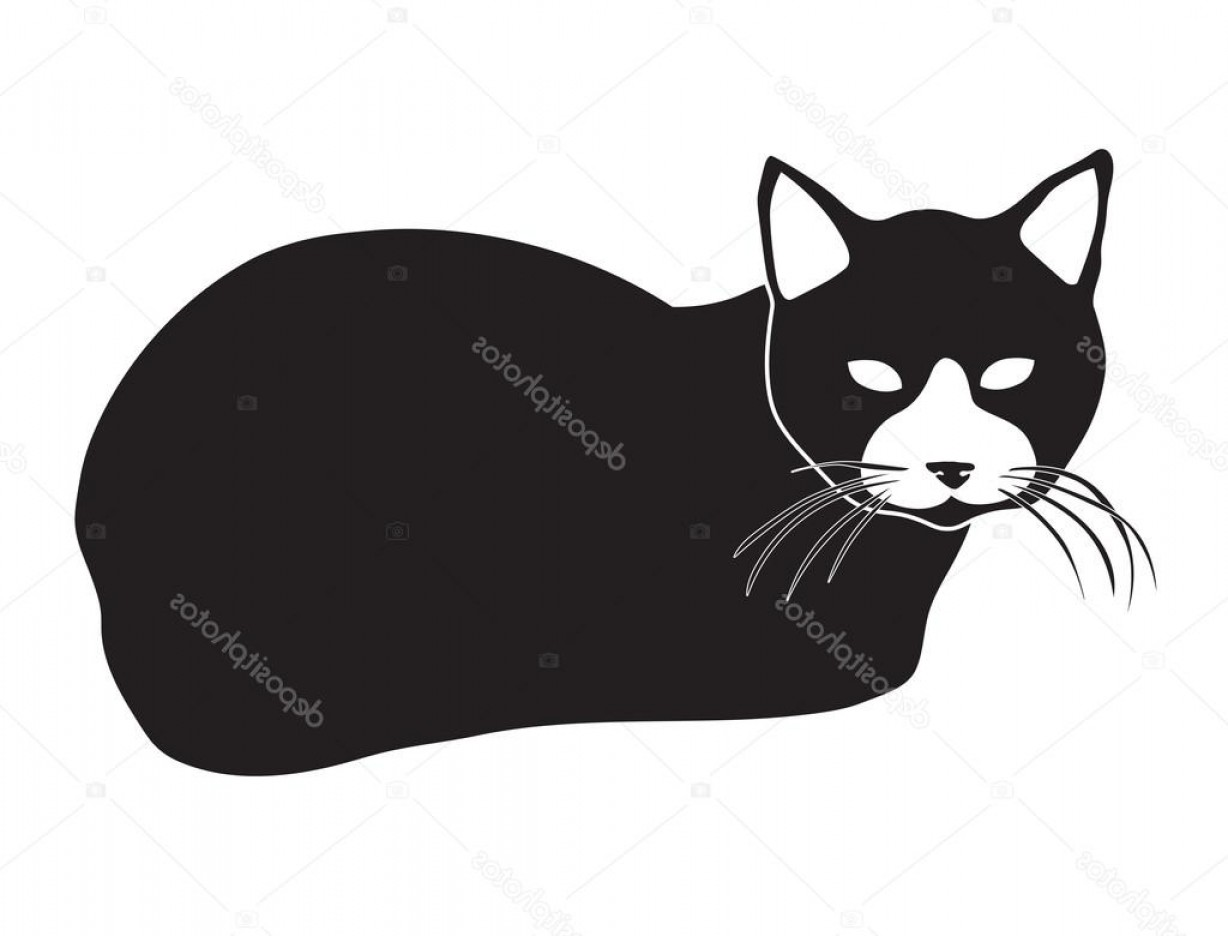 Malee Cat Head Silhouette Vector: Stock Illustration Black Vector Silhouette Of Lying