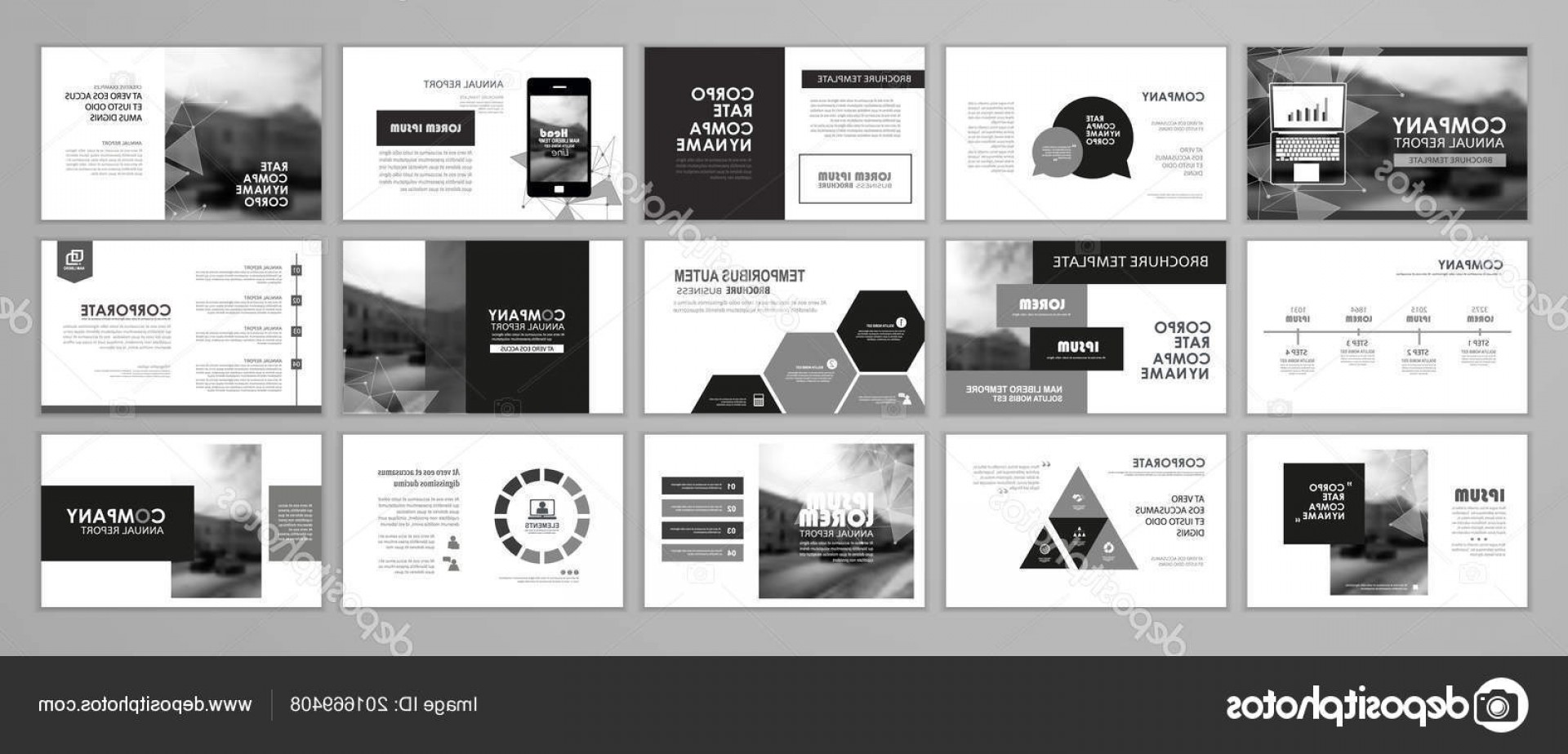 Black And White Flyer Vectors: Stock Illustration Black White Abstract Presentation Slide