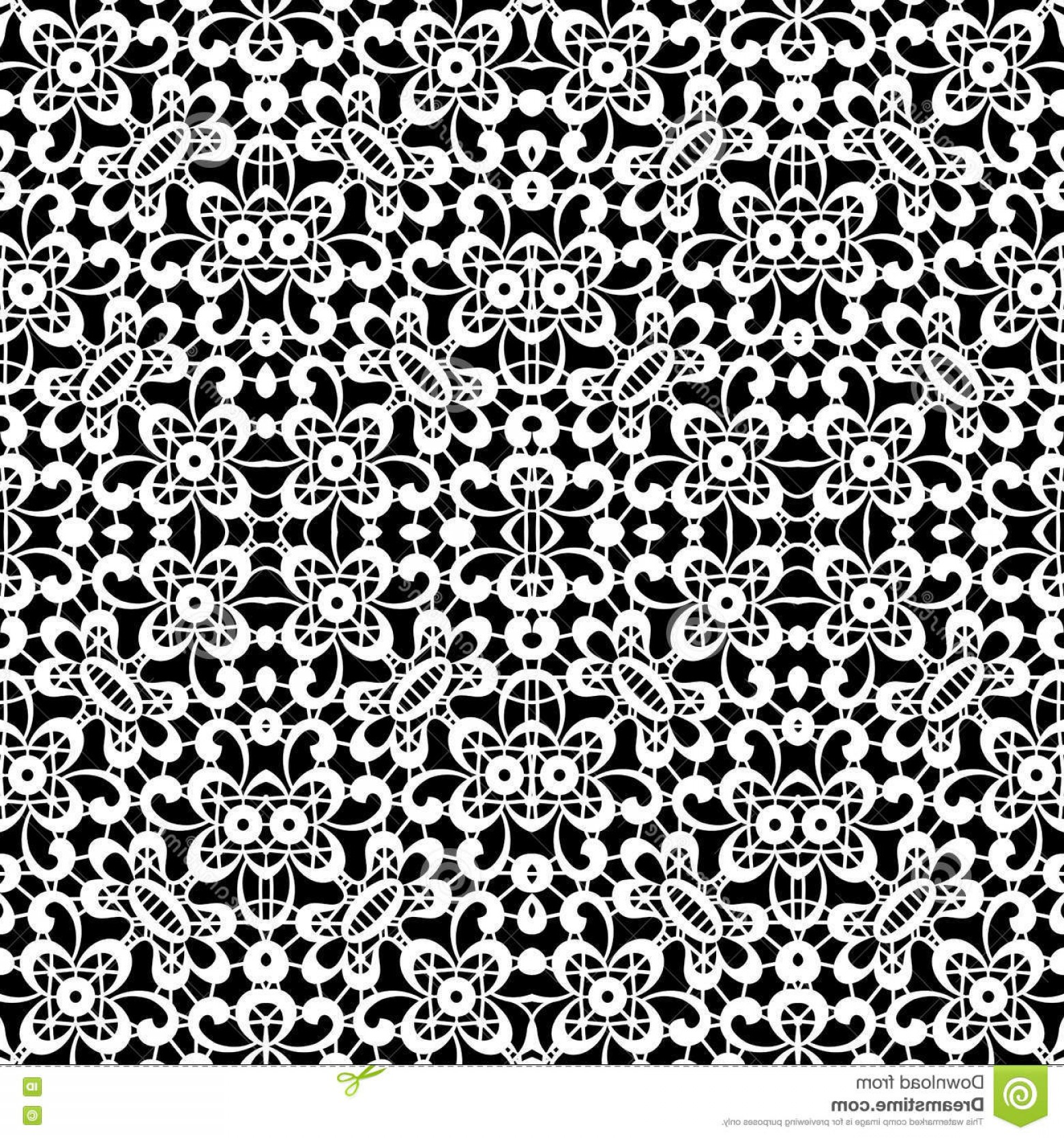 Tulle Black Lace Pattern Vector: Stock Illustration Black White Lace Texture Seamless Pattern Tulle Image