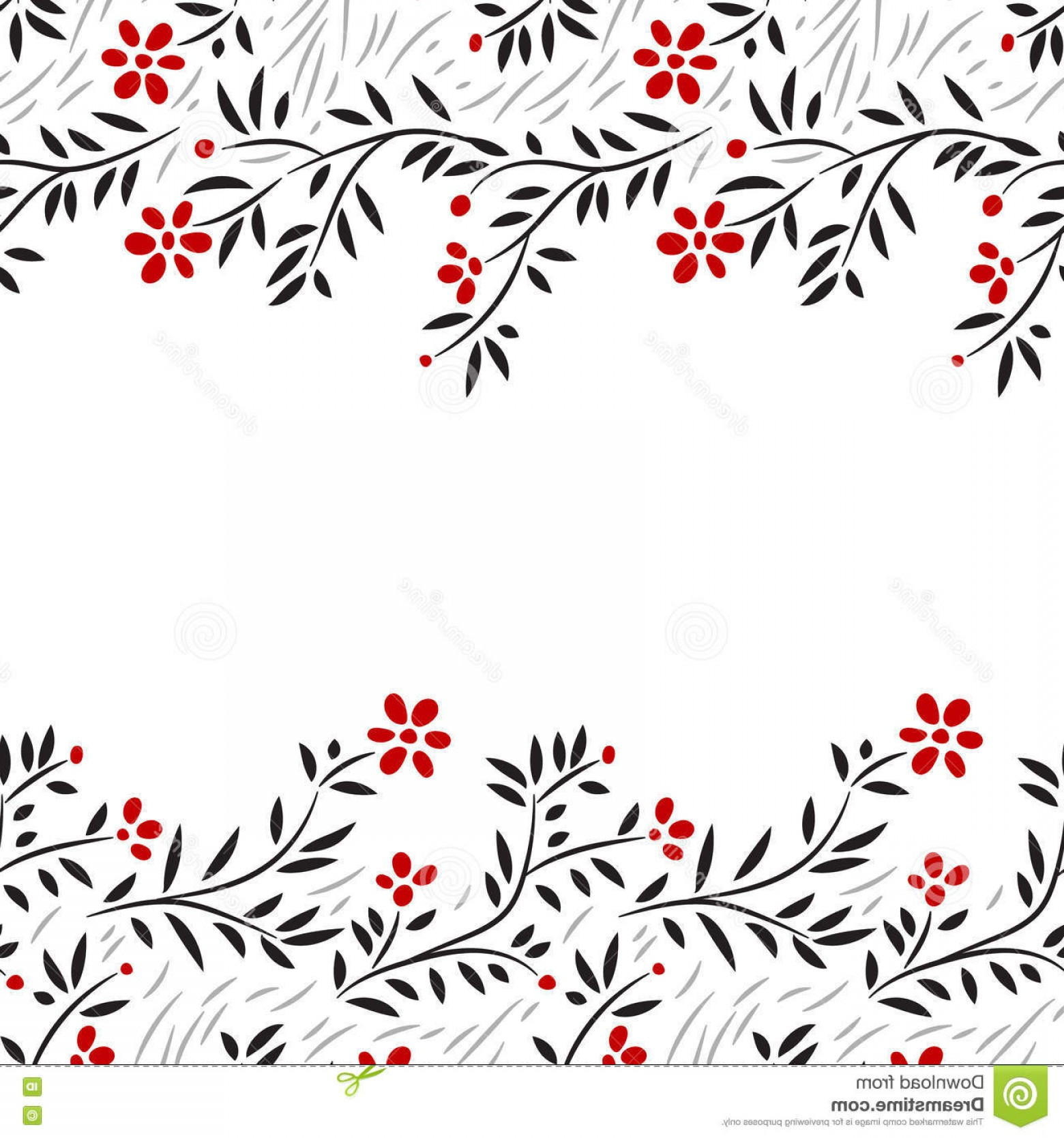 Red Black And White Vector Art: Stock Illustration Black White Red Flowers Horizontal Seamless Border White Vector Background Image