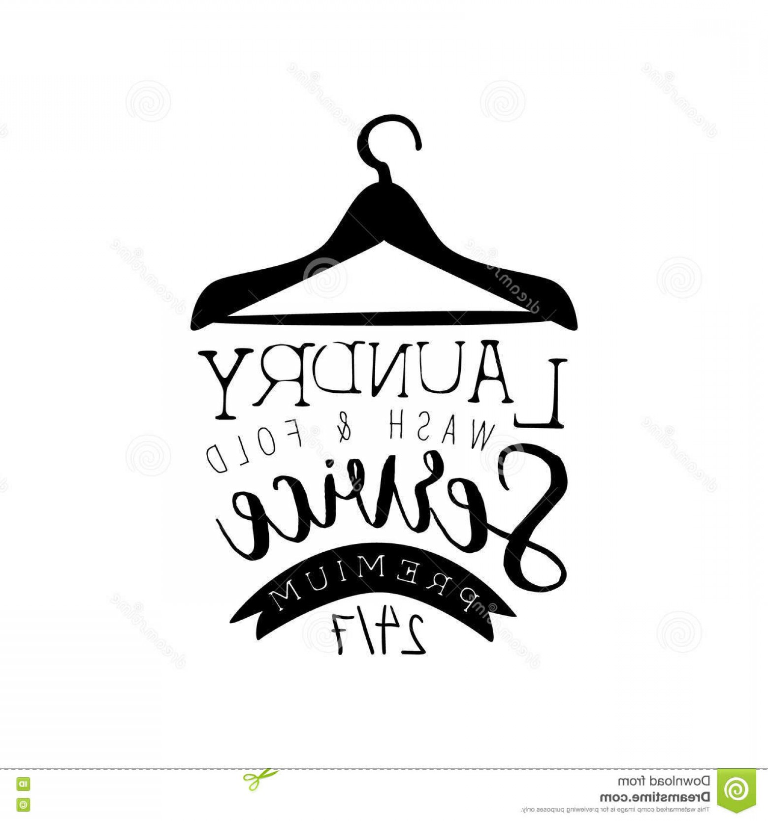 Dry Cleaning Vector: Stock Illustration Black White Sign Laundry Dry Cleaning Service Clothes Hanger Silhouette Vector Washing Image